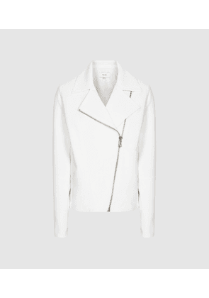 Reiss Sabine - Casual Jacket With Zip Detailing in White, Womens, Size 16