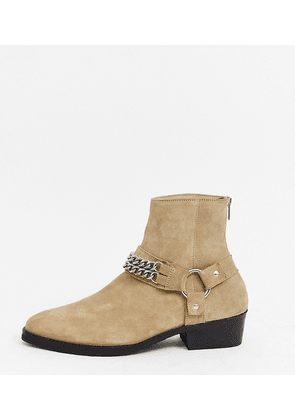 ASOS DESIGN Wide Fit cuban heel western chelsea boots in stone suede with buckle and chain detail