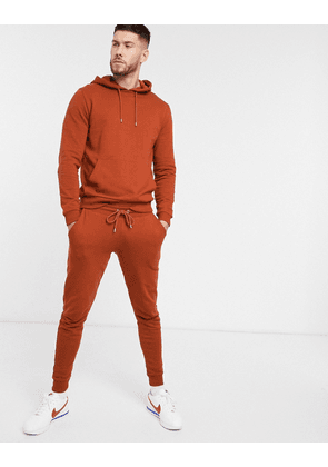 ASOS DESIGN tracksuit with hoodie in brown