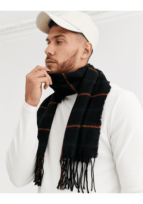 ASOS DESIGN scarf in black with navy and orange check and tassels