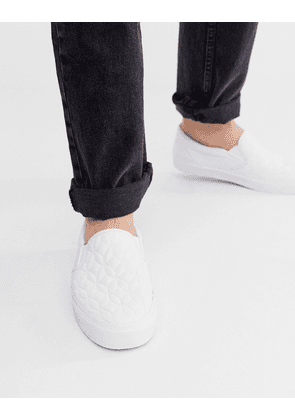 ASOS DESIGN slip on trainers in white with quilted detail