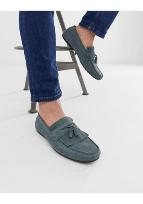 ASOS DESIGN driving shoes in blue suede