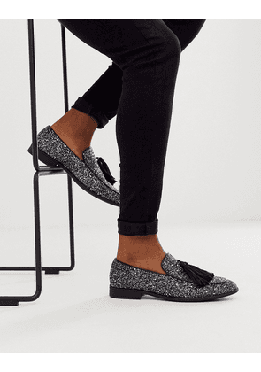 ASOS DESIGN loafers in black glitter with tassel detail