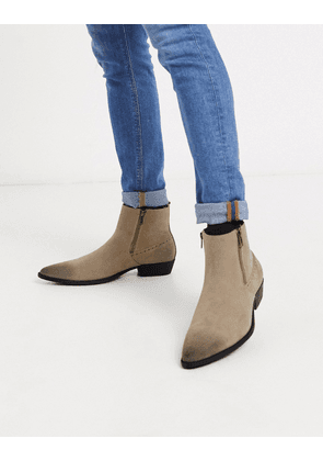 ASOS DESIGN cuban heel western chelsea boots in stone faux suede with zips