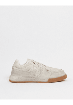 ASOS DESIGN distressed trainers with gum sole-Stone