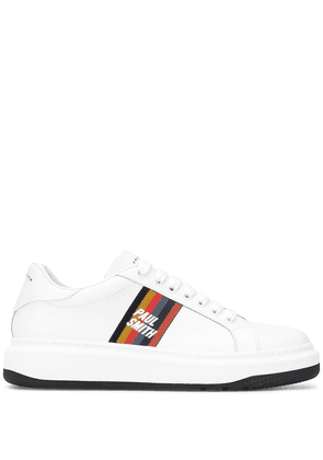 Paul Smith stripe tag lace-up trainers - White