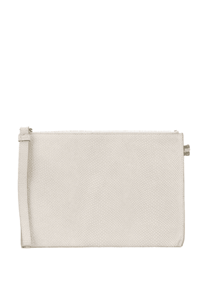 Officine Creative embossed leather clutch - White