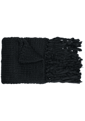 Charles Jeffrey Loverboy fringed knitted scarf - Black