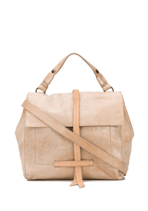 Officine Creative weathered leather messenger bag - NEUTRALS