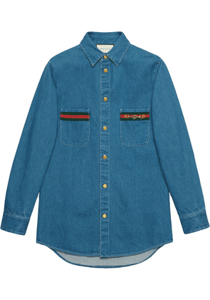 Gucci Web-detail long-sleeve denim shirt - BLUE