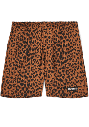Wacko Maria - Logo-Appliquéd Leopard-Print Shell Shorts - Men - Brown