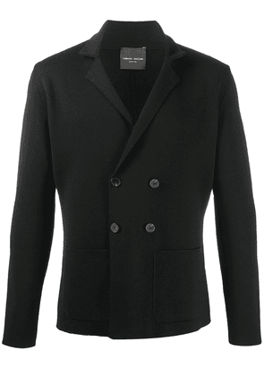 Roberto Collina knitted double-breasted blazer - Black