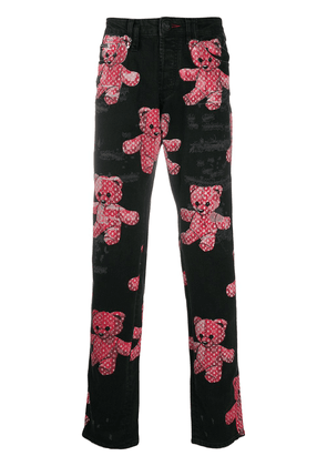 Philipp Plein super straight cut Teddy Bear print jeans - Black