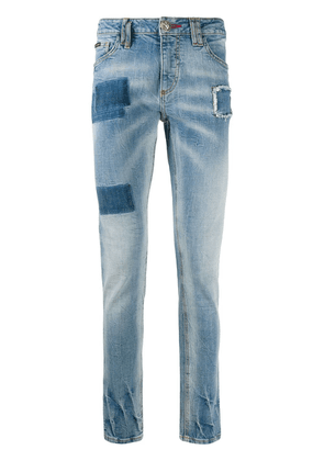 Philipp Plein patchwork slim-fit jeans - Blue