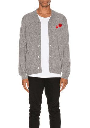 Comme Des Garcons PLAY Multiheart Cardigan in Grey - Gray. Size XL (also in M,S).
