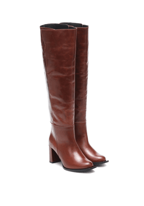 Sporty Elegance leather over-the-knee boots
