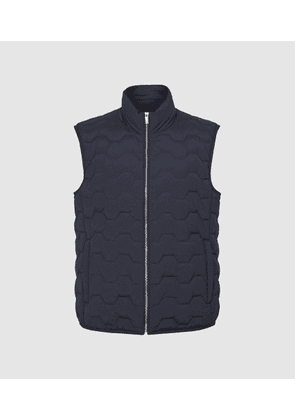 Reiss Erin - Quilted Gilet in Navy, Mens, Size XS