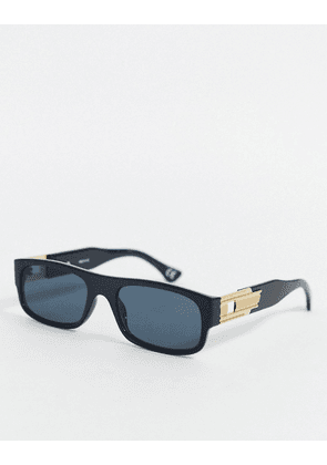 ASOS DESIGN rectangle sunglasses in black plastic with gold arm detail