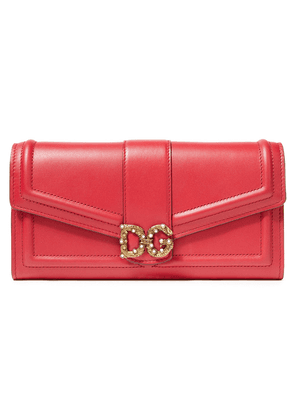 Dolce & Gabbana Logo-embellished Leather Wallet Woman Claret Size --