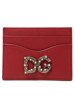 Dolce & Gabbana Logo-embellished Leather Cardholder Woman Claret Size --
