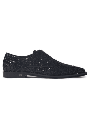 Dolce & Gabbana Sequined Woven Brogues Woman Black Size 36.5