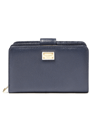 Dolce & Gabbana Textured-leather Wallet Woman Midnight blue Size --