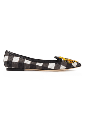 Dolce & Gabbana Crystal-embellished Checked Basketweave Point-toe Flats Woman Black Size 36