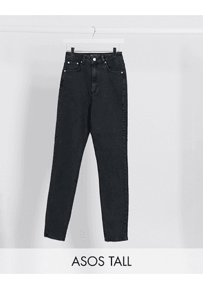 ASOS DESIGN Tall hourglass high rise farleigh 'slim' mom jeans in washed black