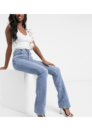 ASOS DESIGN Tall high rise '70's' kick flare in midwash-Blue
