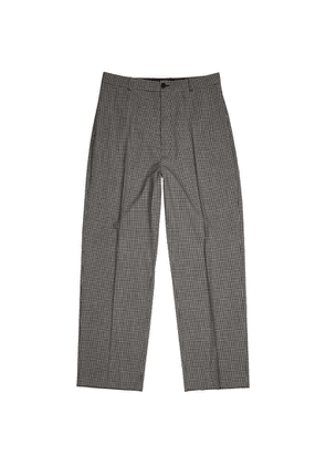 Balenciaga Monochrome Checked Wool-blend Trousers