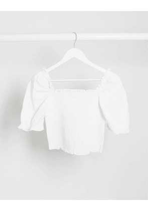 Monki Mona shirred crop top with puff sleeves in white