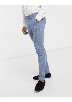 ASOS DESIGN wedding super skinny wool mix suit trousers in blue houndstooth check