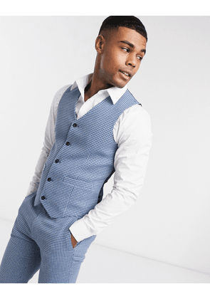 ASOS DESIGN wedding super skinny wool mix suit waistcoat in blue houndstooth check