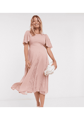 ASOS DESIGN Maternity midi dress with lace panels and blouson bodice-Pink