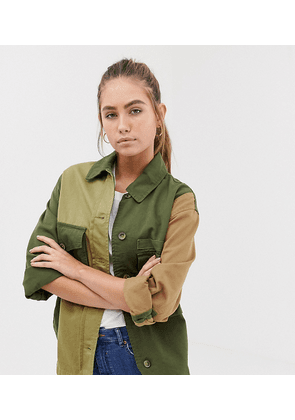Bershka patched army jacket in green
