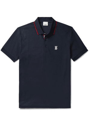 Burberry - Logo-Embroidered Contrast-Tipped Cotton-Piqué Polo Shirt - Men - Blue