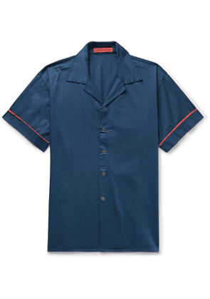 Cleverly Laundry - Piped Garment-Dyed Washed-Cotton Pyjama Shirt - Men - Blue
