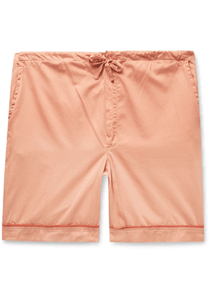 Cleverly Laundry - Piped Garment-Dyed Washed-Cotton Pyjama Shorts - Men - Orange