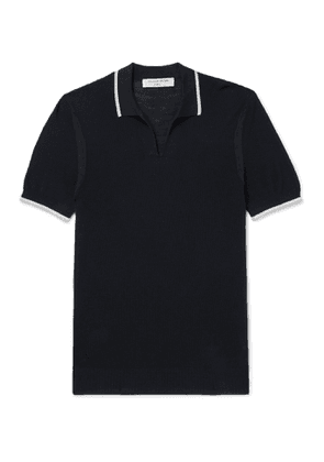 Orlebar Brown - IWC Schaffhausen Mallory Slim-Fit Contrast-Tipped Cotton and Silk-Blend Knitted Polo Shirt - Men - Blue
