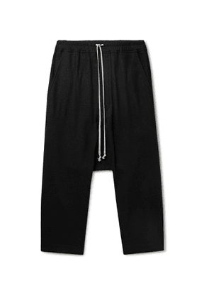 Rick Owens - Cotton and Wool-Blend Flannel Drawstring Trousers - Men - Black