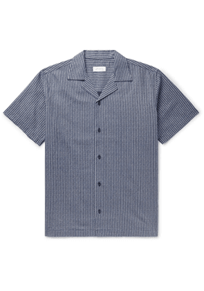 Saturdays NYC - Canty Camp-Collar Indigo-Dyed Linen and Cotton-Blend Shirt - Men - Blue
