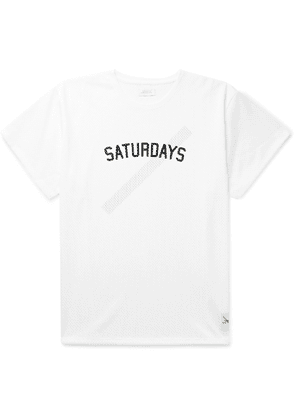 Saturdays NYC - Marley Logo-Print Mesh T-Shirt - Men - White