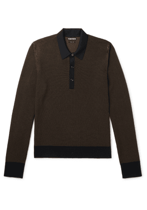 TOM FORD - Slim-Fit Textured Silk and Cashmere-Blend Polo Shirt - Men - Brown