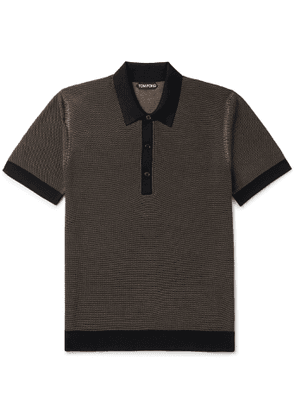 TOM FORD - Textured Silk and Cashmere-Blend Polo Shirt - Men - Black