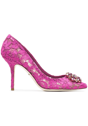Dolce & Gabbana Pink Belucci 90 lace pumps with crystals