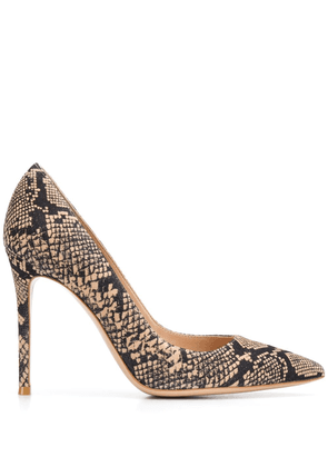 Gianvito Rossi pointed snakeskin-effect pumps - Black