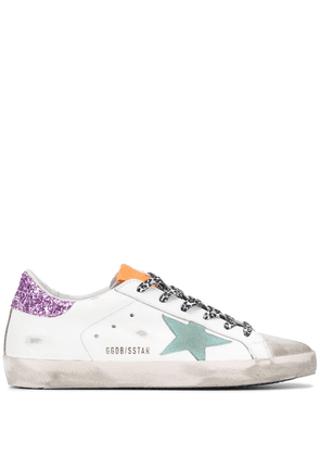 Golden Goose Superstar distressed low-top trainers - White