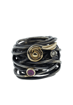 BOAZ KASHI oxidised silver, diamond and tourmaline coil ring