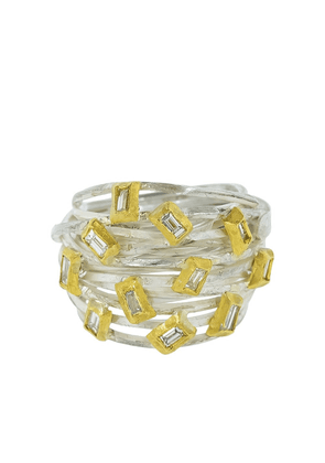 BOAZ KASHI 24kt gold, sterling silver and diamond wire wrap ring - SS
