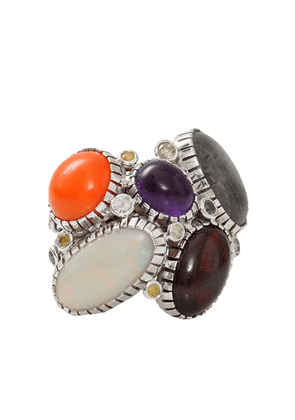 BOAZ KASHI 18kt white gold, opal, moonstone, amethyst and agate wire